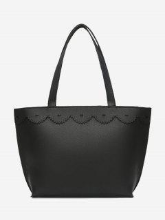 Faux Leather Heart Pattern Shoulder Bag - Black