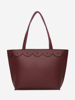 Faux Leather Heart Pattern Shoulder Bag - Purplish Red