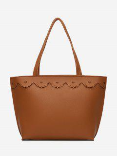 Faux Leather Heart Pattern Shoulder Bag - Brown