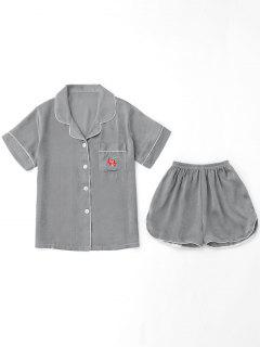 Embroidered Shirt With Shorts Loungewear Suit - Gray Xl