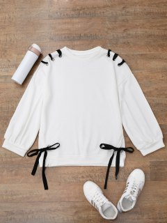 Casual Lace Up Pullover Sweatshirt - White M