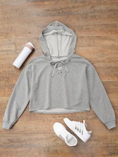 Lace Up Plain Cropped Hoodie - Gray L
