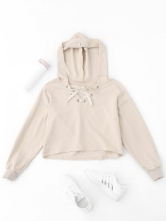 Lace Up Plain Cropped Hoodie - Apricot S