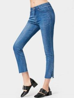 Side Slit Ninth Boot Cut Jeans - Denim Blue L