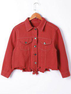 Ripped Long Sleeve Jacket - Red M