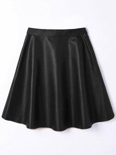 PU Leather A Line High Waist Skirt - Black M
