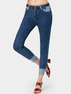 Pantalones Vaqueros De Contraste - Azul Denim L