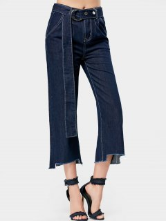 Belted High Low Hem Wide Leg Jeans - Denim Blue L