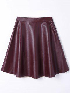 PU Leather A Line High Waist Skirt - Wine Red S