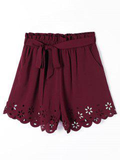 Hollow Out Bolsillos Pantalones Cortos Festoneados Con Cinturón - Vino Rojo 2xl