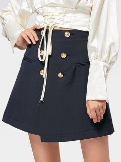 Slit Double-breasted Asymmetrical Mini Skirt - Purplish Blue L