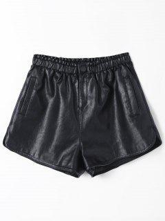 Ruffles High Waist PU Leather Shorts - Black M