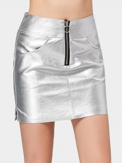 Half Zip Faux Leather Shiny Mini Skirt - Silver M