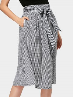 Belted Checked Midi A Line Skirt - Checked S