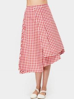 Layered Checked Asymmetric Midi Skirt - Checked M