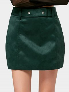 Belted Faux Suede A Line Mini Skirt - Blackish Green L