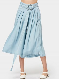 Metallic Ring Slit Capri Wide Leg Pants - Light Blue M