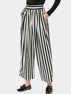 Elastic Waist Casual Stripes Wide Leg Pants - Stripe M