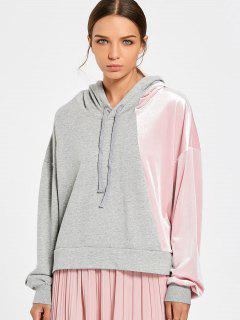 Color Block Cut Out Velvet Panel Hoodie - Pink And Grey L