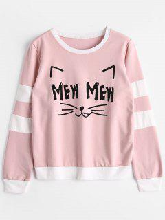Cat Graphic Striped Sweatshirt - Pink