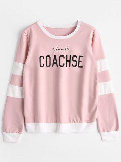 Striped Letter Graphic Sweatshirt - Pink