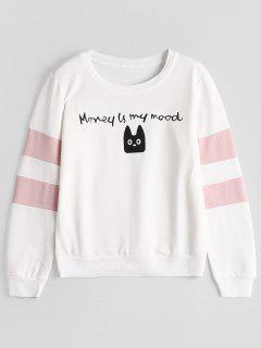 Cartoon Cat Letter Graphic Sweatshirt - White