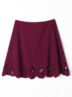 Scalloped Hollow Out A Line Skirt - Wine Red M