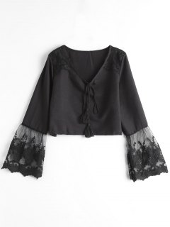 Embroidered Crop Top - Black L