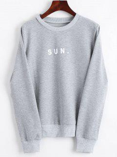 Crew Neck Letter Graphic Sweatshirt - Gray S
