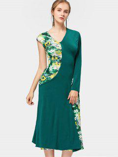 Asymmetric Sleeve Floral Panel Midi Dress - Green M