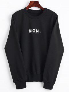 Crew Neck Letter Graphic Sweatshirt - Black L