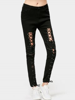 High Waisted Skinny Lace Up Pencil Jeans - Black S