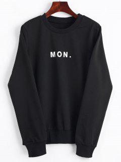 Crew Neck Letter Graphic Sweatshirt - Black S