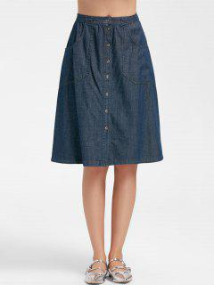 Button Up A Line Midi Denim Skirt - Denim Blue L