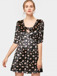 Floral Bowknot Cinched Sleeve Mini Dress - Black M