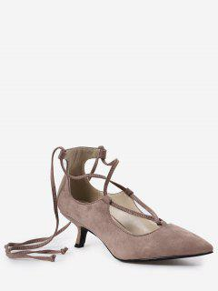 Lace Up Cross Strap Kitten Heel Pumps - Nude Pink 39
