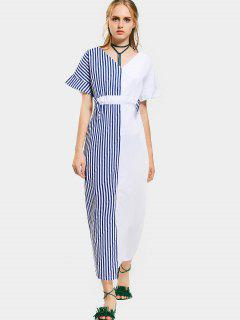 Contrast Slit Striped Maxi Dress - Blue And White L