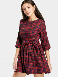 Checked Belted A Line Dress - Red Xl