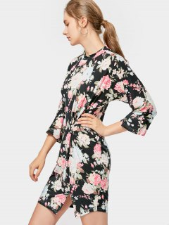Floral Draped Bodycon Mini Dress - Black S