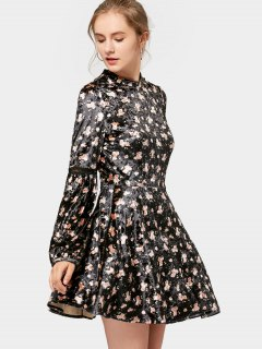 Long Sleeve Floral Velvet Mini Dress - Black L