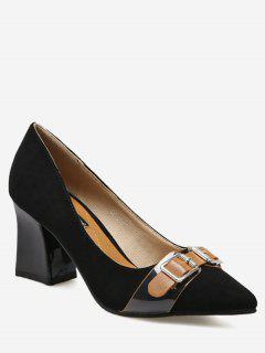 Chunky Heel Buckle Strap Suede Pumps - Black 39