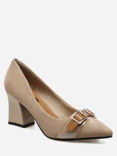 Chunky Heel Buckle Strap Suede Pumps - Apricot 36