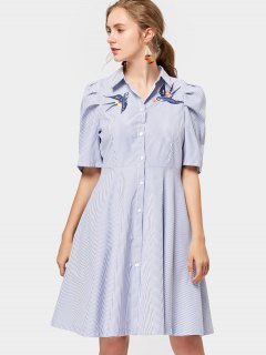 Bird Embroidered Stripes Shirt Dress - Stripe M