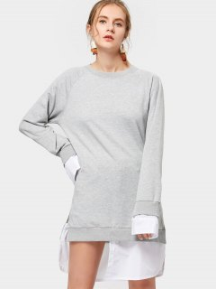 Contrasting Long Sleeve Asymmetrical Dress - Gray M
