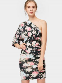 Floral One Shoulder Bodycon Dress - Black S