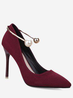 Ankle Strap Faux Pearl Stiletto Pumps - Wine Red 34
