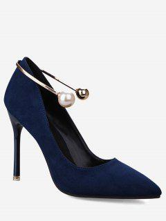 Ankle Strap Faux Pearl Stiletto Pumps - Royal 35