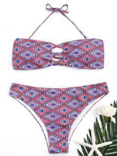 Halter Argyle Strappy Bikini Set - S