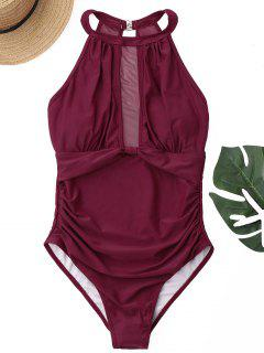 Mesh Panel High Neck One Piece Swimsuit - Wine Red Xl