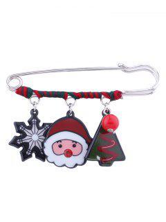 Christmas Santa Snowflake Bead Tree Brooch - Red